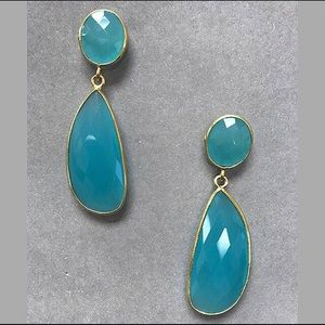 Genuine Chalcedony Faceted Dangle in 14k Vermeil